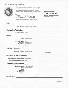 Copyright registration cert for blog 2014